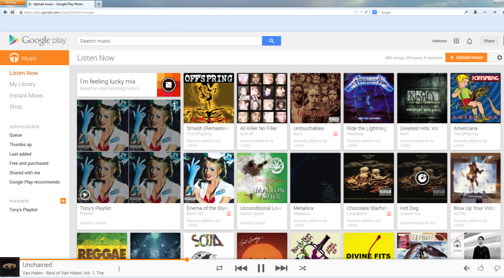 upload music library to google play
